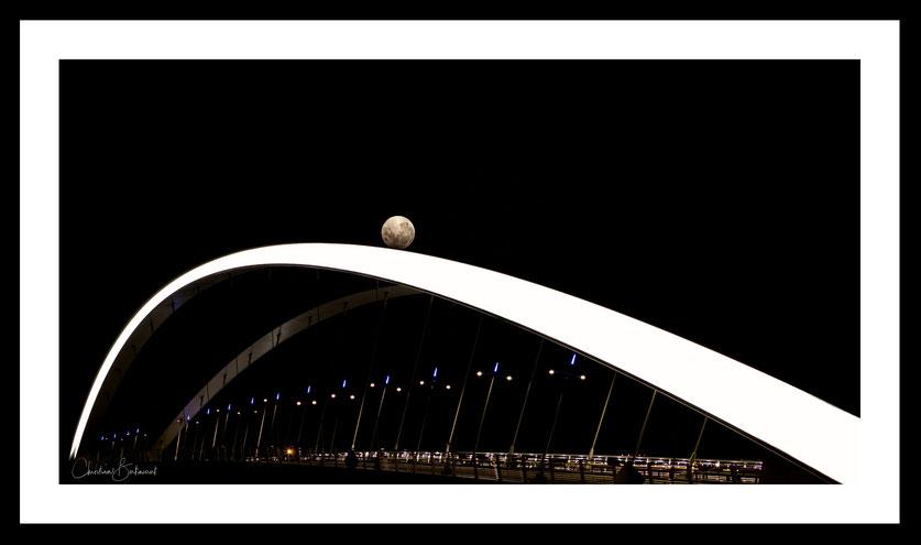 Pont Ramond-Barre, Lyon, Rhône, pont, pleine lune, ville de Lyon