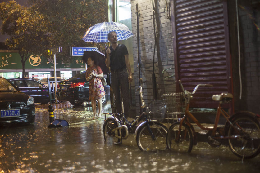 night street photography rain Beijing