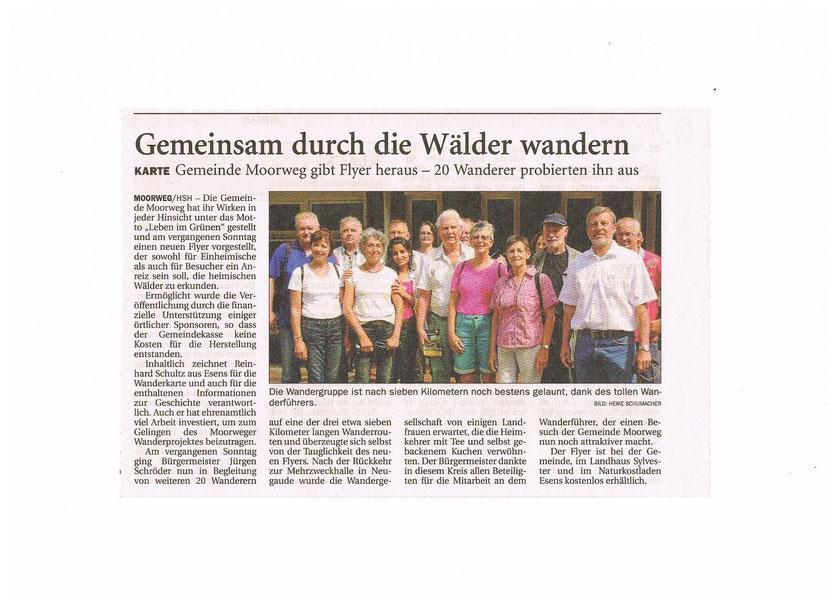 Wandern im Wald im Harlinger Anzeiger vom 6.Juli 2014