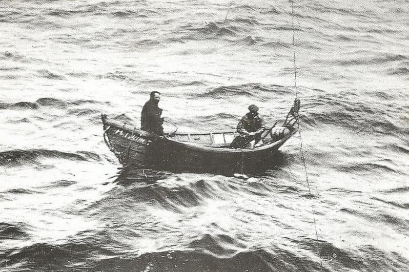 Les doris, outils de travail du quotidien des terre-neuvas sont aussi d'efficaces moyens de sauvetage pour en cas de naufrage