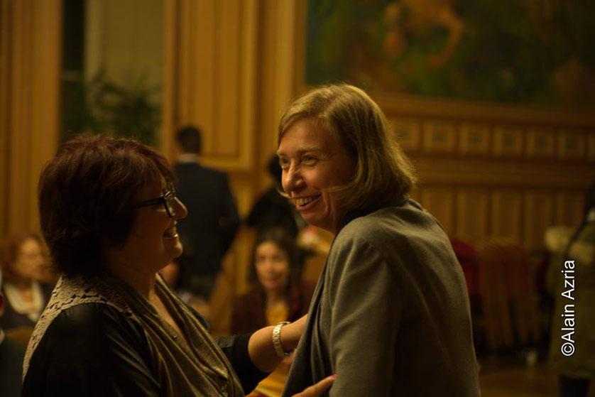 Anne Angles, Professeur d'Histoire (film Les Héritiers) et Annie Paule Derczansky, présidente et fondatrice des Bâtisseuses de Paix