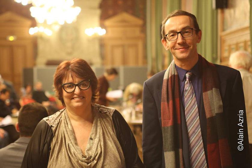 Annie-Paule Derczansky, Présidente et fondatrice des Bâtisseuses de Paix et François Vauglin, Maire du 11ème arrondissement de Paris