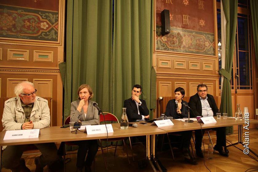 Les professeurs d'histoire Hamid et  Anne Angles,  Thomas Joubert, Eva Pavel Professeur au Collège Rouault, et Mahor Chiche Adjt Maire 19e