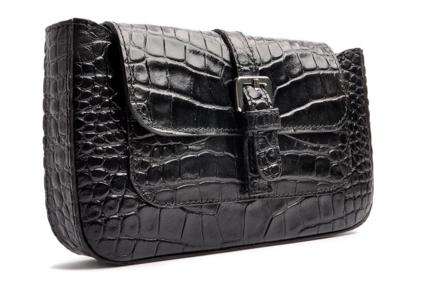 Trachtentasche Dirndltasche schwarz Krokoptik Leder    . OSTWALD Traditional Craft