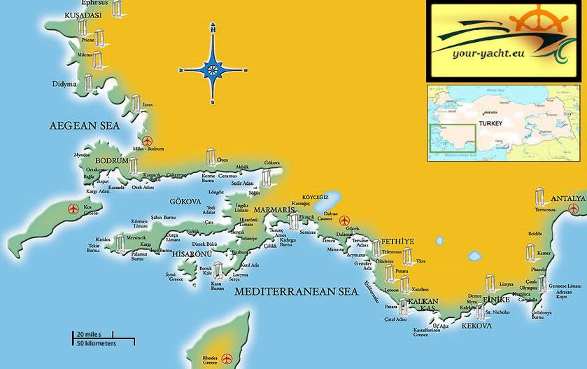 your-yacht.eu touristic map izmir to antalya