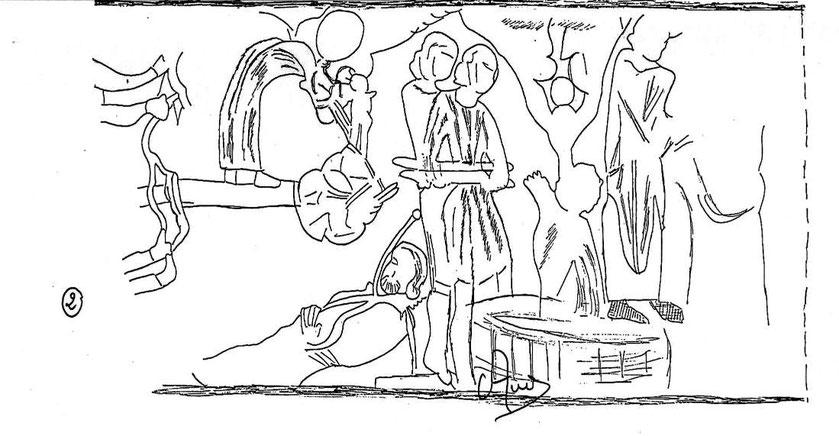 suite de l'interprétation des fresques de Paulhac mur nord