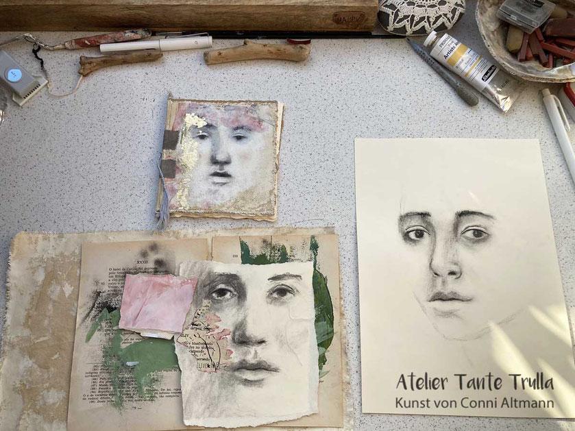 Kohlezeichnungen Gesicht und Mini-Buch