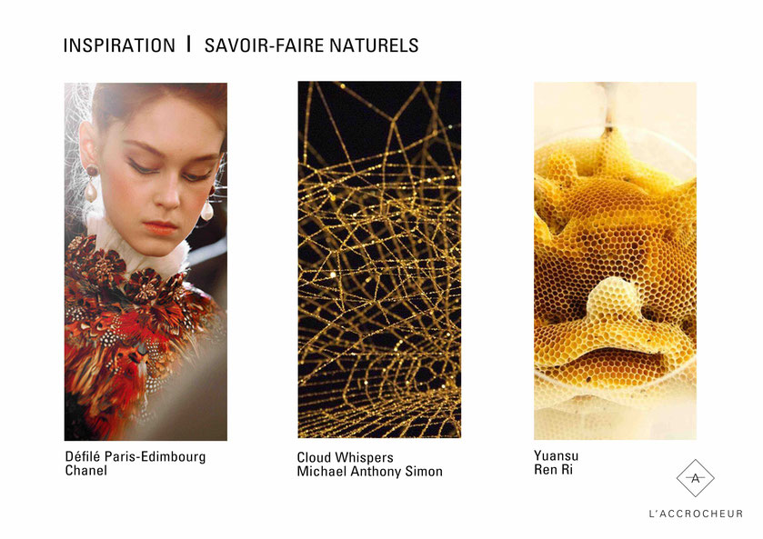 Inspiration; Savoir; Faire; Nature; Naturel; Defile; Défilé; Mode; Chanel; Paris; Edimbourg; Métiers; Metier; Metiers; Art; Artisanat; Toile; Araignée; Dorée; Michael Anthony Simon; Cloud Whispers; Or; Gold; Yuansu; Ren Ri; Abeille; Alveole; Design; Expo