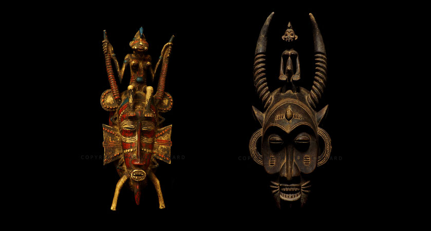 "Senufo Senoufo Kpelié masks of the ""master of the animal"" genre (?). Left mask by Ziehouo Coulibaly from Korhogo. Right mask by Bakari Coulibaly from Dickodougou"