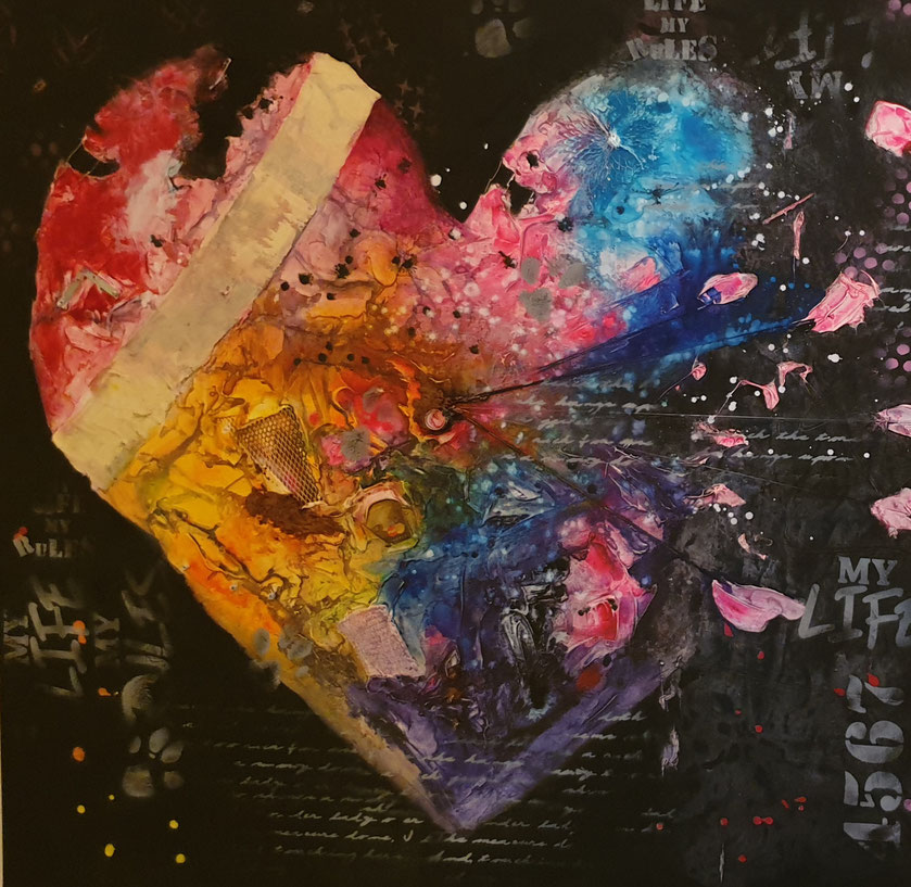 OLD HEART Leinwand 100x100cm Collage, Acryl, Mischtechnik