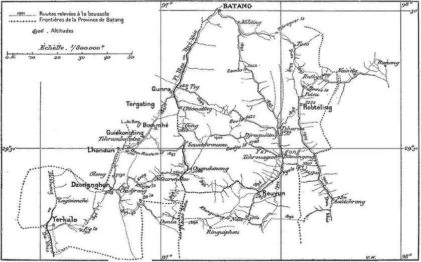 Jean-André SOULIÉ (1858-1905) : Géographie de la principauté de Bathang. Revue La Géographie, tome IX, 1904, pages 87-104.