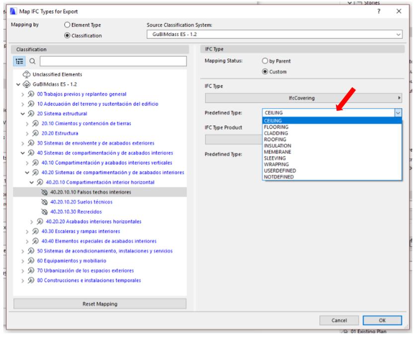 Escoger el Predefined Type a nivel elemento/componente