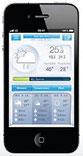 Smartphone affichant la météo