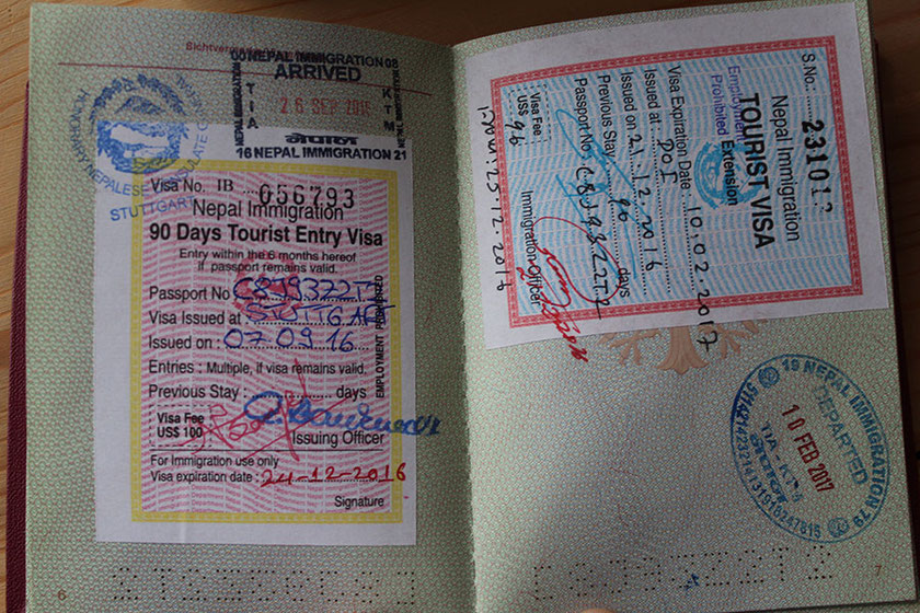 Passport, Visa, Nepal, Stamp, Travel, Arrival, Extension, acquired at the nepalese consulate in Stuttgart