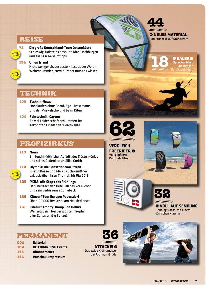Inhaltsverzeichnis Kiteboarding.de mit Bild von Matt Taggart