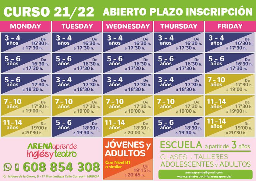 Nuevo CURSO 19/20 - Abierto Plazo de Inscripción - ARENAaprende Inglés y Teat