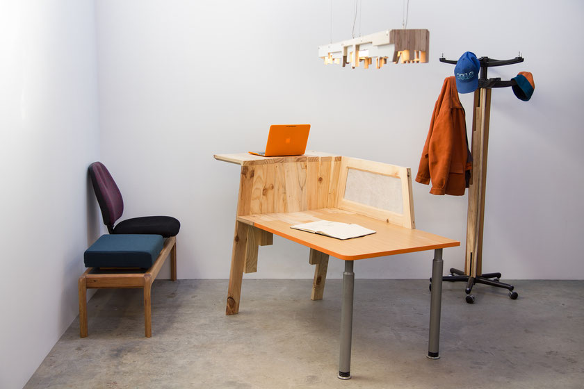 Bench, Stack light and Transition Table, and Coat Caddy by Designtree for Rekindle.