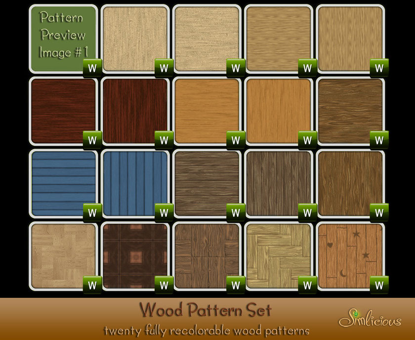 Wood pattern pack - Custom Content for the Sims 3 by Simlicious