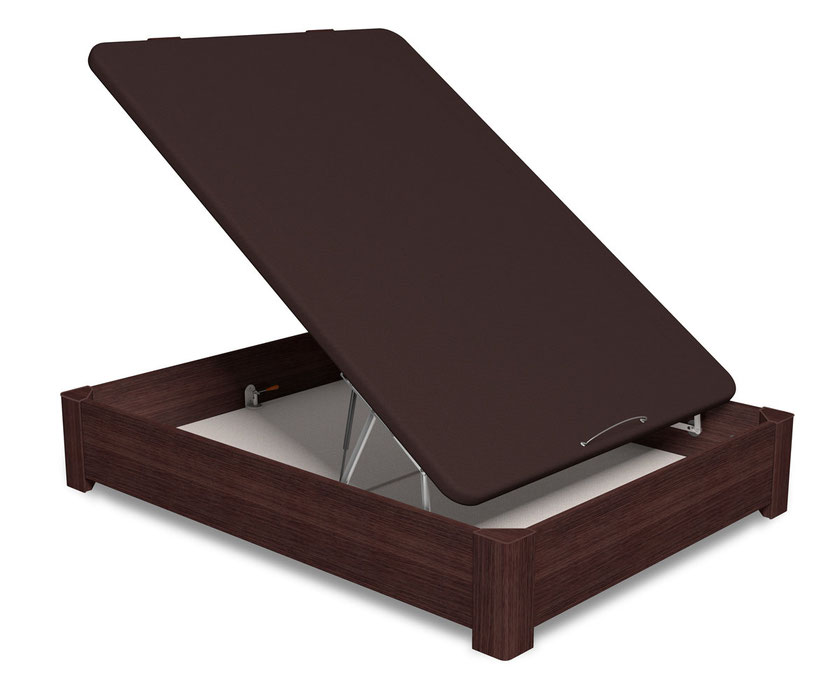 Canapé abatible Aspen con fondo de madera reforzado y patas de madera con tapas antiarañazos.