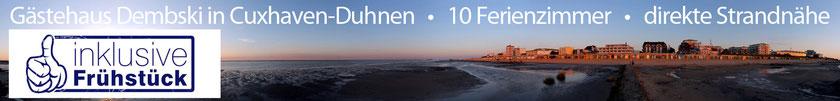 10 Ferienzimmer, 9 Doppel- und ein Dreibettzimmer, in Cuxhaven-Duhnen, nahe an Promenade und Strandbereich, auch als Monteurzimmer zu vermieten!