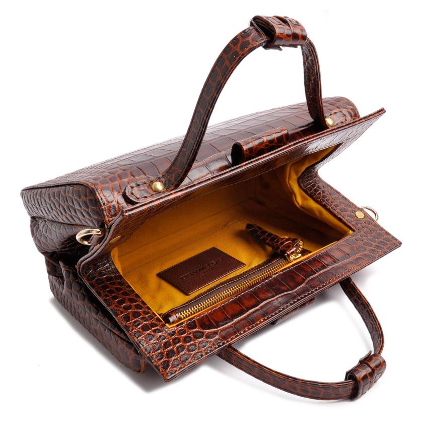 Ledertasche Retrolook in Krokoptik OSTWALD Traditional Craft