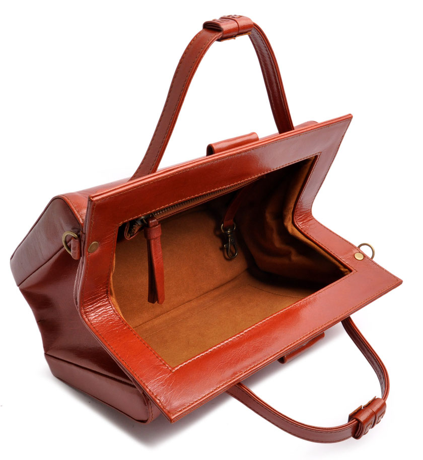 Ledertasche Retrolook cognac OSTWALD Traditional Craft