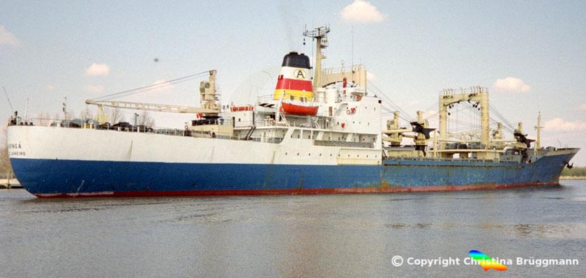 Stückgutfrachter MARINGA, Nord-Ostsee Kanal, 1989