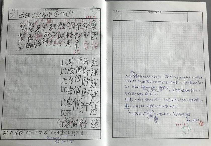 週に1回、児童が提出する「家庭学習ノート」にコメントを付けて返す
