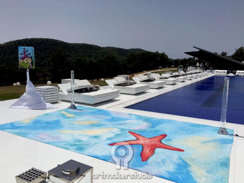 Decoración fondo marino para fiesta privada en la casa de David Guetta en Ibiza