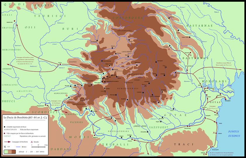 Territorio della Dacia tra il 60 e il 44 a.C.