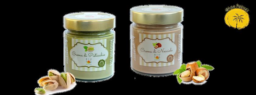 Crama Pistacchio Sicilia, Pistazie creme bio, biosolnatura, crema di nocciola bio, Haselnusscreme bio aus Sizilien