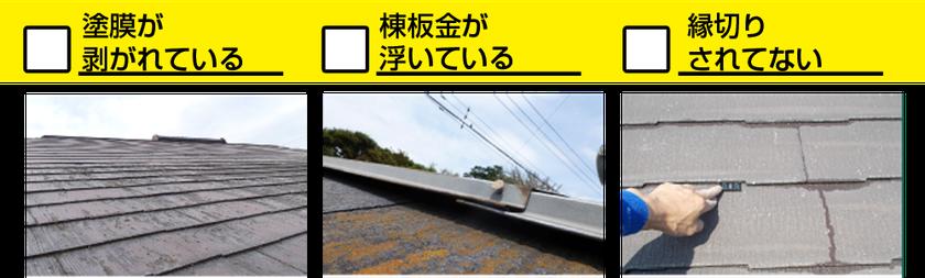 □塗膜が剥がれている □棟板金が浮いている □縁切りされてない