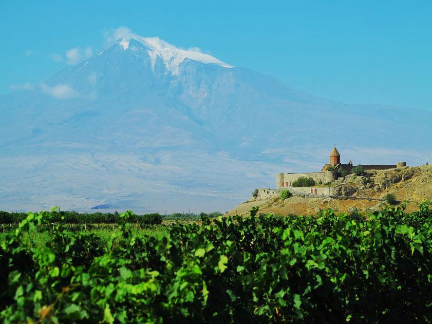 Armenien, Kloster Chor Virap vor dem Großen Ararat