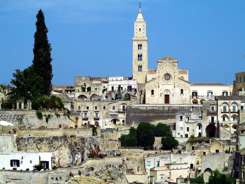 Blick vom Belvedere Luigi Guerricchio zur Kathedrale von Matera