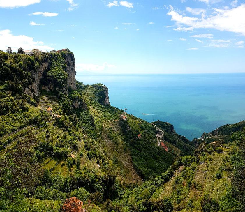 Aussicht vom Sentiero degli Dei, kurze Zeit nach Beginn der Wanderung vom Ausgangspunkt Bomerano