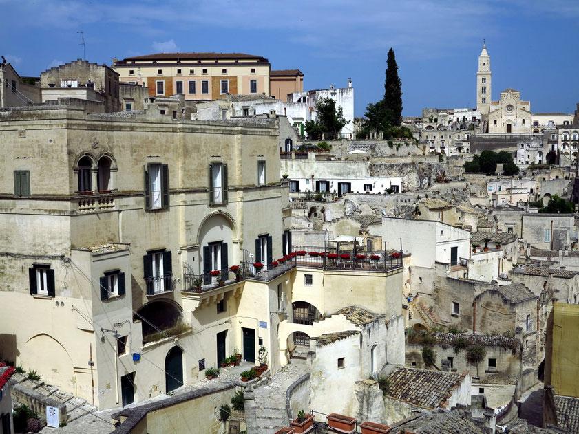 Blick vom Belvedere Luigi Guerricchio in Richtung der Kathedrale von Matera