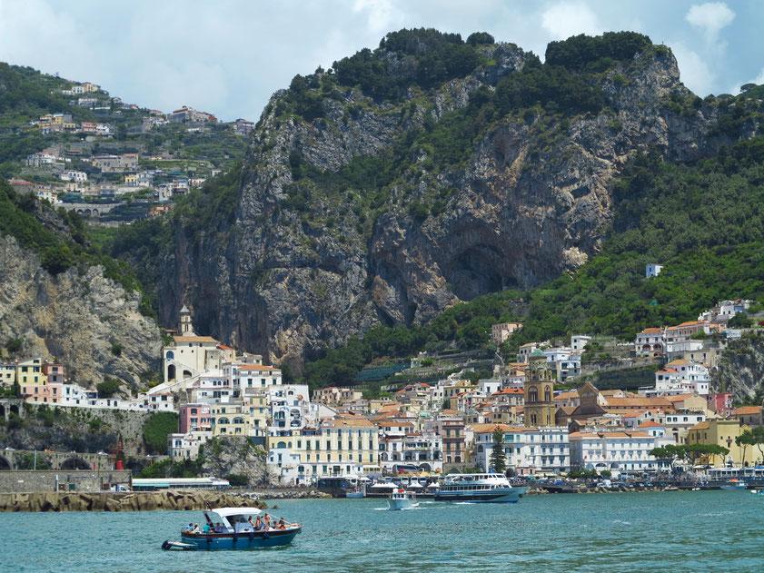 Ankunft mit dem Schnellschiff von Travelmar in Amalfi