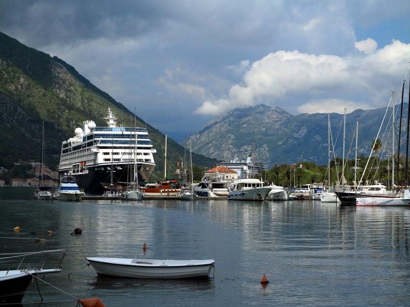 Kreuzfahrtschiffe (Azamara Pursuit und Veendam) im Hafen von Kotor