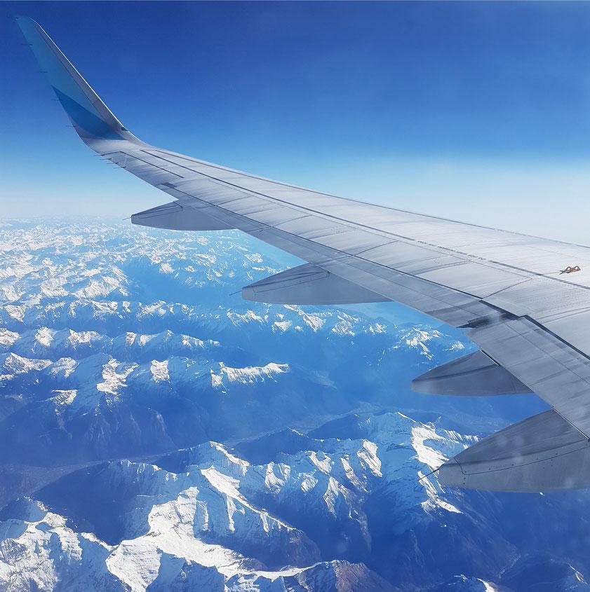 Im Airbus 320 über den Alpen