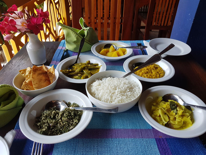 Dinner: Sri Lankan Rice and Curry (Reis, Spinat mit Kokosnussraspeln, Kohl, Linsen-Dal, Kartoffeln, XXX) dazu Papadam