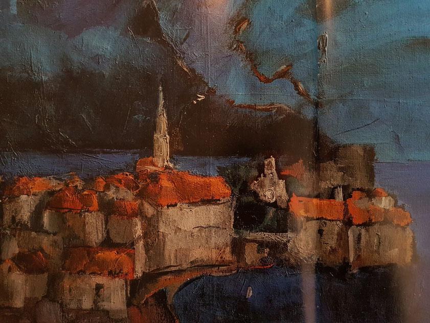 Jovan-Jova Ivanović: Budva, Ölgemälde 1980 (ein Jahr nach dem verheerenden Erdbeben)