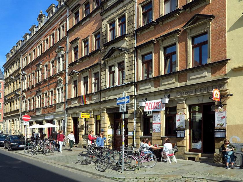 Szeneviertel Äußere Neustadt in der Alaunstraße, geschlossenes Gründerzeitviertel mit urwüchsigem Flair