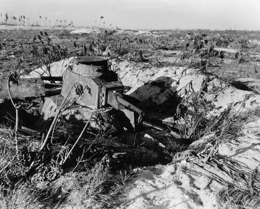 Placé de manière statique pour défendre les plages, ce Ha-Go a tenu jusqu'à sa destruction au contact des Marines