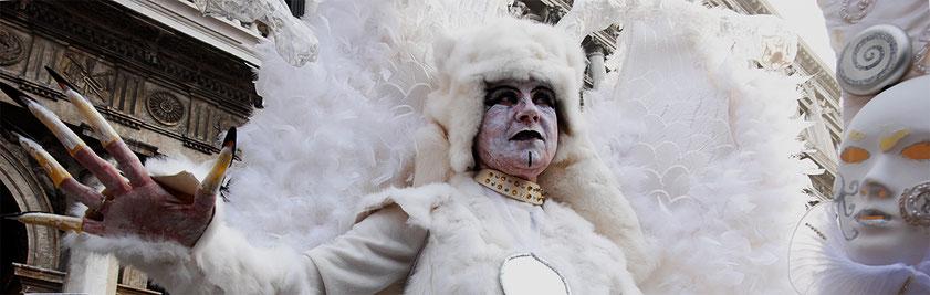 Mathieu Guillochon, photographe, Italie, Venise, San Marco, carnaval, cygne, costume, blanc,voyages, couleurs, lagune, histoire, république de venise