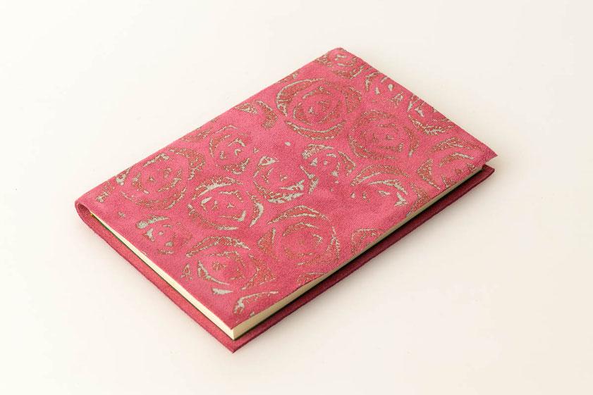 Notizbuch, Blanko, Velourleder rosa