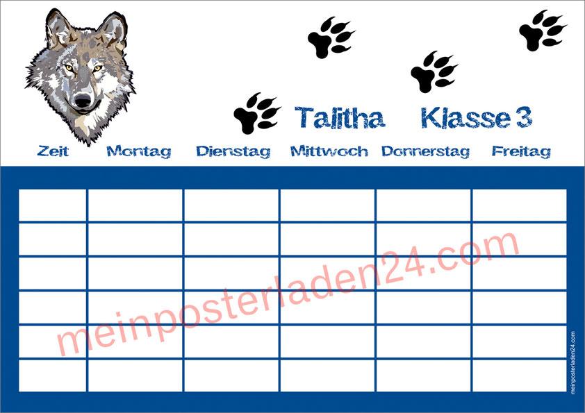A4 Stundenplan mit Wolf und Wolfsspuren, personalisierbar, optional wiederbeschreibbar
