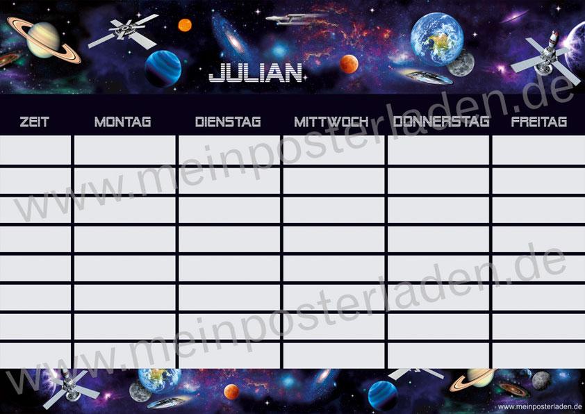 A4 Stundenplan Weltall, mit Raumstation, Raumschiffen, Planeten und Sternen, personalisierbar, optional wiederbeschreibbar