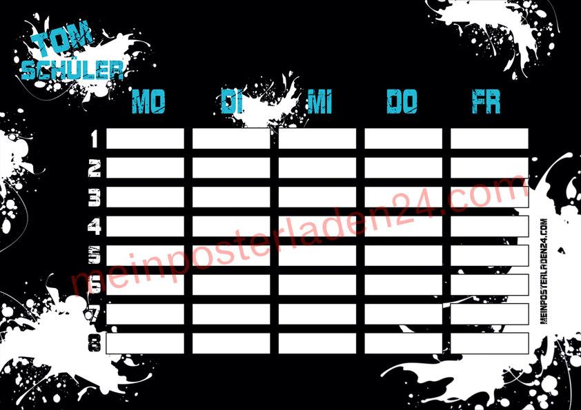 cooler schwarzer A4 Stundenplan mit weißen Farbklecksen, personalisierbar, optional wiederbeschreibbar