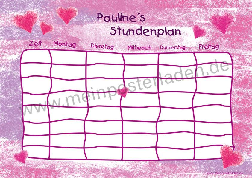 A4 Stundenplan mit romantischen pinken Herzchen in Pastelloptik, personalisierbar, optional wiederbeschreibbar