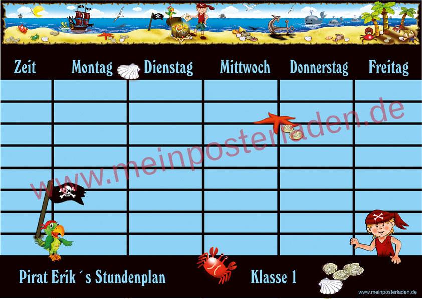 A4 Stundenplan mit kleinem Pirat, Goldschatz, Piratenschiff, Wale, Papagei, personalisierbar, optional wiederbeschreibbar